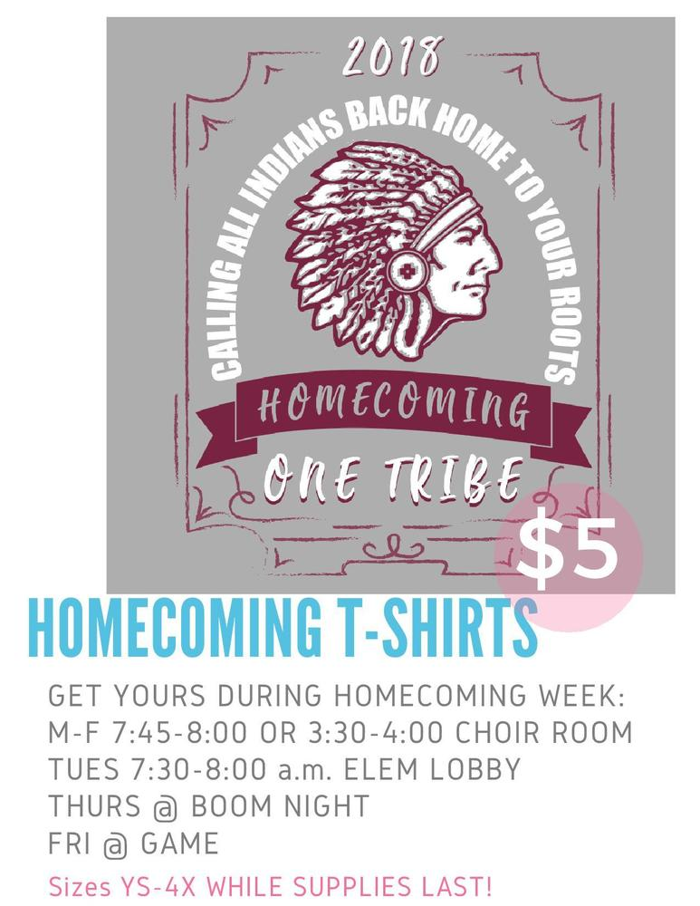 $5 Homecoming t-shirts for sale Homecoming week!