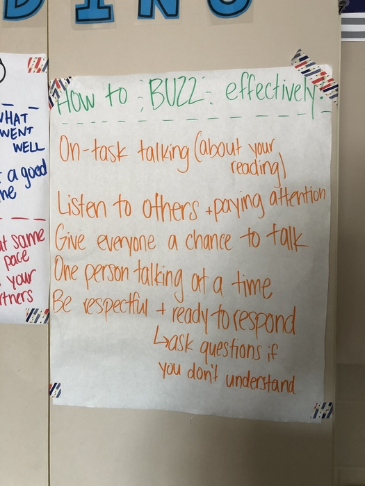 "Ms. Crook and class created a poster about ""buzzing"" about their books."