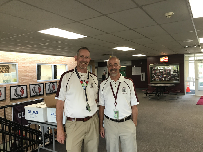 "Mr. Kentner and Mr. Bolton on ""Twin Day"" during Homecoming week."