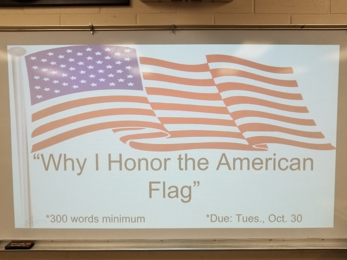 6th grade Flag essay due Tuesday, October 30, 2018