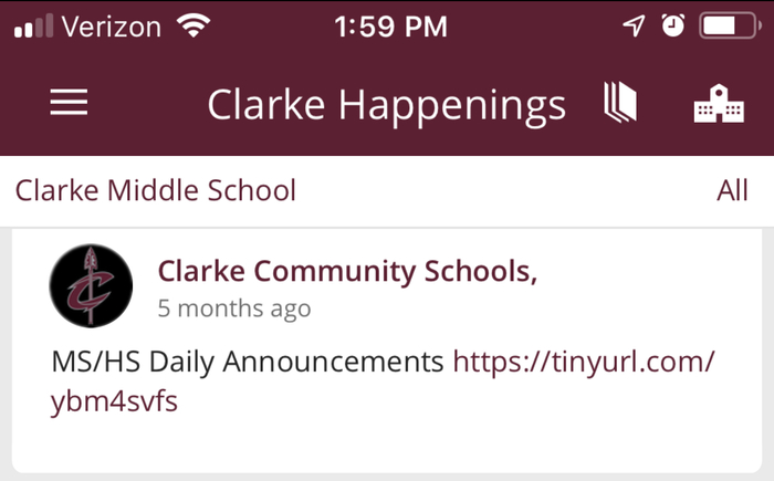 Clarke happenings graphic about MS/HS daily announcements