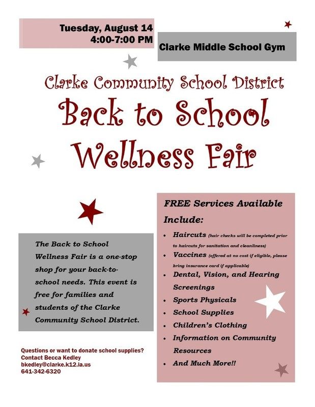 Back to School Wellness Fair Aug. 14th!